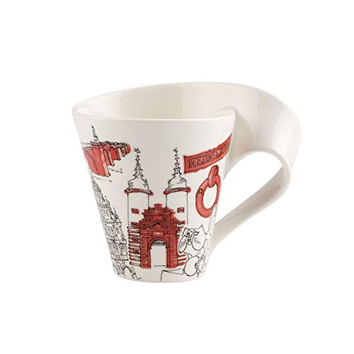 Villeroy & Boch Cities of the World Kaffeebecher Heidelberg, 300 ml, Premium Porzellan, Weiß/Bunt