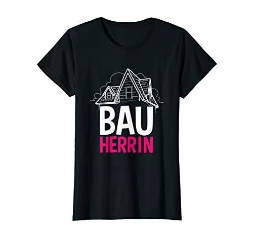 Damen Bauherrin Eigentum Eigenheim Bauen Richtfest Baustellen Paar T-Shirt