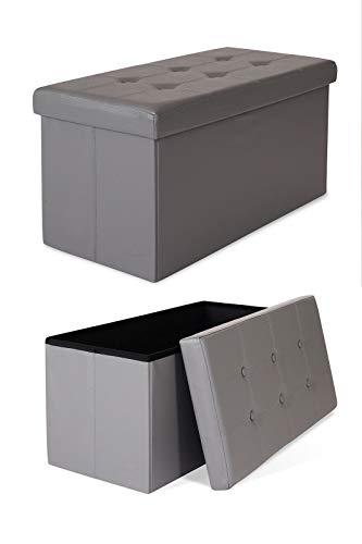 dibea SO00461, Sitzhocker faltbar, Lederimitat, 80 L, Bank 76 x 38 x 38 cm schwarz, Max 300 kg